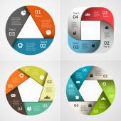 Vector circle infographic. Template for diagram, graph, presentation and chart. Business concept with 3, 4, 5, 6, options, parts, steps or processes. Abstract background. — ストックベクタ
