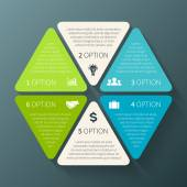 Vector hexagon infographic. Template for diagram, graph, presentation and chart. Business concept with 6 options, parts, steps or processes. Abstract background. — Stock vektor