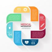 Vector circle plus sign infographic. Template for diagram, graph, presentation and chart. Medical healthcare concept with options, parts, steps or processes. Abstract background. — Stock Vector