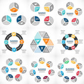 Vector circle infographics set. Template for diagram, graph, presentation and chart. Business concept with 3, 4, 5, 6, 7, 8 options, parts, steps or processes. Abstract background. — Vector de stock