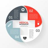 Vector circle plus sign infographic. Template for diagram, graph, presentation and chart. Medical healthcare concept with 4 options, parts, steps or processes. Abstract background. — Vector de stock