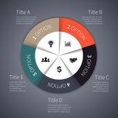 ベクトル サークル インフォ グラフィック。図、グラフ、プレゼンテーション、グラフのテンプレートです。5 オプション パーツ、手順やプロセスをビジネス コンセプトです。抽象的な背景. — ストックベクタ