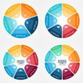 Vector color circle infographics set. Template for diagram, graph, presentation and chart. Business concept with 5, 6, 7, 8 options, parts, steps or processes. Abstract background. — Stock Vector