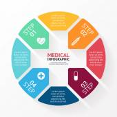 Vector circle plus sign infographic. Template for diagram, graph, hospital presentation and chart. Medical healthcare concept with 4 options, parts, steps or processes. — Stock Vector