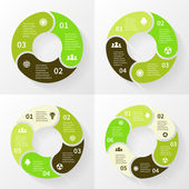 Eco infographic, circle arrows, 3, 4, 5, 6 steps. — Stock Vector