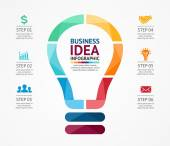 Vector idea infographic with light bulb. Template for creative diagram, graph, presentation and chart. Business concept with 6 options, parts, steps or processes of brainstorm and creativity. — Stock Vector