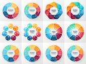 Vector infographics set. Collection of templates for cycle diagram, graph, presentation and round chart. Business concept with 7 and 8 options, parts, steps or processes. Abstract background. — Stock Vector