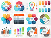 Vector infographics set. Collection of templates for cycle diagram, graph, presentation and round chart. Business concept with options, parts, steps or processes. — Stock Vector