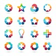 Logo templates set. Abstract circle creative symbols. Circles, plus signs, stars, triangle, hexagons, bulb and other design elements. — Stock Vector #66371745