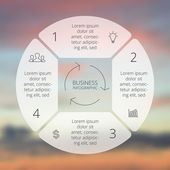 Circle line infographic. Template for cycle diagram, graph, presentation and round chart. Business concept with 4 options, parts, steps or processes. Linear graphic. Blur vector background. — Stock Vector