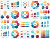Vector infographics set. Templates for cycle diagram, graph, presentation and round chart. Business startup concept with 3, 4, 5, 6, 7, 8 options, parts, steps or processes. Data visualization. — Stock Vector
