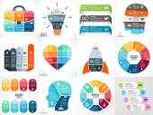 Creative vector arrows teamwork infographics, diagrams, graphs, charts. 3, 4, 5, 6, 7, 8 options, parts, steps. Human head, idea light bulb, heart, plus sign, startup rocket, businessman bag. — Stock Vector