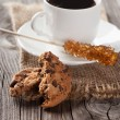 Espresso and chocolate chip cookies — Stock Photo #58943157
