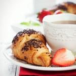 Постер, плакат: Morning breakfast with homemade croissants