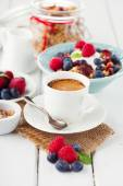 Cup of coffee and muesli — Stock Photo