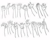 Set of hands in many gesture — Stock Vector