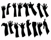Silhouette set of hands in many gesture — Stock Vector