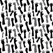 Seamless pattern of silhouette set of hands  — Stock Vector