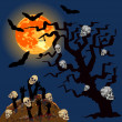 Zombies's hands emerge from grave with skull — Stock Vector #52516691