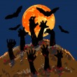 Zombies's hands emerge from grave — Stock Vector #52516725