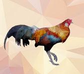 Colorful cock-polygon vector — Stock Vector