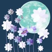 Butterfly and flower with big full moon on blue background — Stock Vector