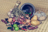 Still life of food and vegetable — Stockfoto