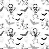 Seamless pattern of skeleton ,skull and bat on white background  — Stock Vector