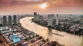 Hight view of Bangkok city with modern building and  inland wate — Stock Photo