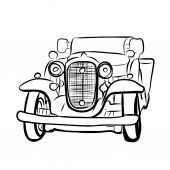 Drawing of old vintage car — 图库矢量图片