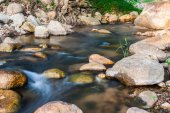 Nature small waterfall with rock — Stock Photo