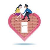 Lover express love on heart shape home — Stock Vector