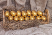 Gold easter egg on hay in wooden shelf  — Photo