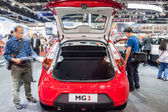 Red MG3 a smart-looking small car open rear door for showing ins — Stock Photo