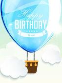 Happy birthday balloons greeting card blue illustration — Stock Vector