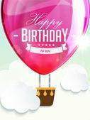 Happy birthday balloons greeting card deep rose illustration — Stock Vector