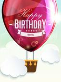 Happy birthday balloons greeting card red illustration — Stock Vector
