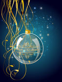Christmas blue ball decoration with gold — Stock Vector