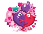 Cats and hearts pattern — Vettoriale Stock