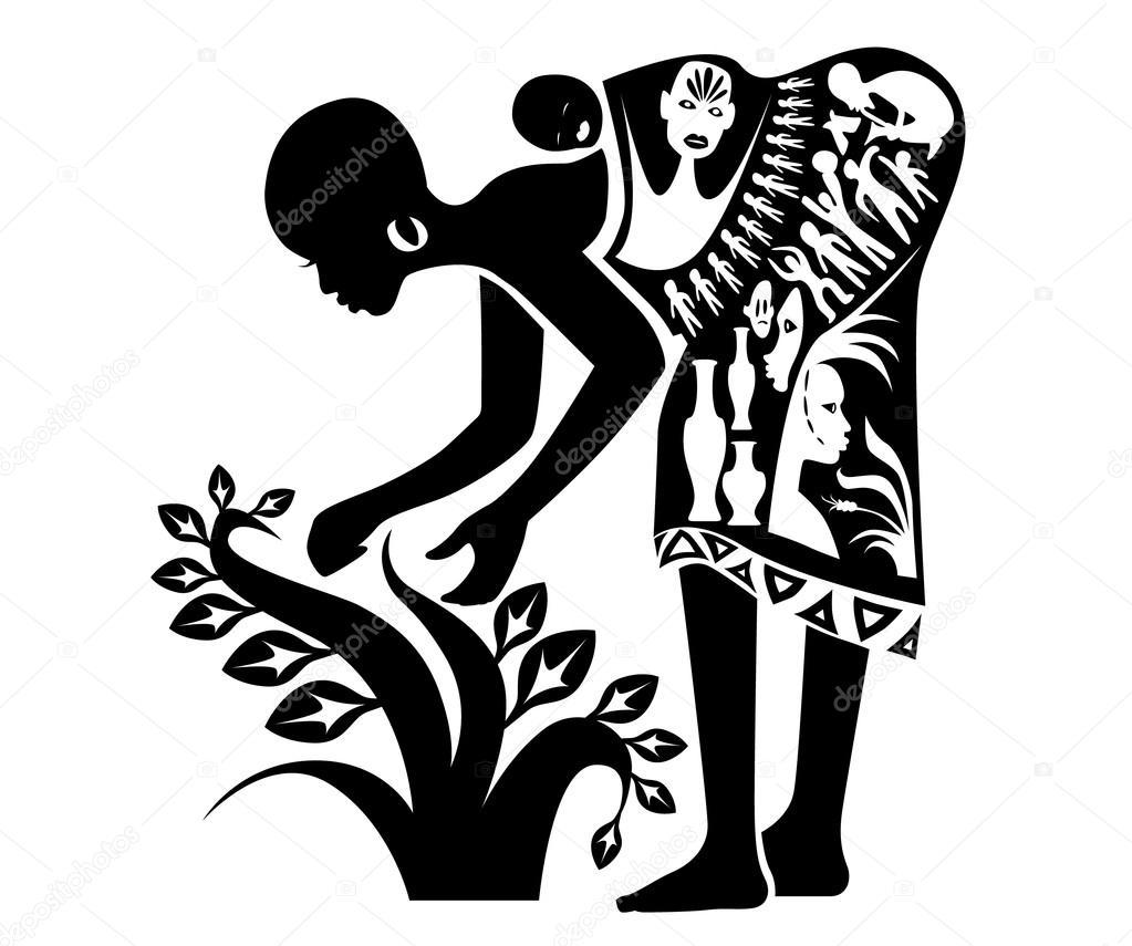 Tampon de tatouage de femme africaine image vectorielle for Female silhouette tattoo