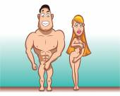 Pair of young and beautiful naked characters — Stock Vector