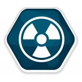 Blue radiation sign icon — Stock Vector