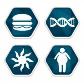 Cancer risk factors icons set — Stock Vector