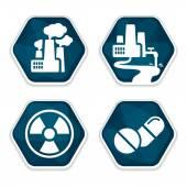 Cancer risk factors icons set — Vector de stock