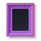 Violet frame with gold patterns for picture or text isolated on white background — Vettoriale Stock