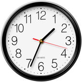 Classic round wall clock isolated on white background — Stock Vector