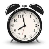 Black retro alarm clock isolated on white background — Stock Vector