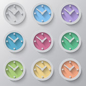 Set of clock icons with colour faces — Stock Vector
