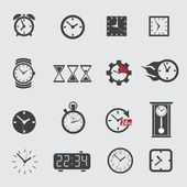 Vector clock icons set on gray — Stock Vector