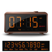 Retro digital alarm clock with orange numbers — Stock Vector